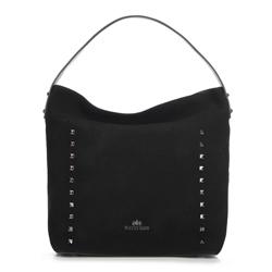 Shopper táska szarvasbőrből szegecsekkel, fekete, 91-4E-613-1, Fénykép 1
