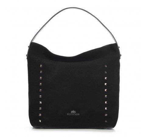 Shopper táska szarvasbőrből szegecsekkel, fekete, 91-4E-613-8, Fénykép 1