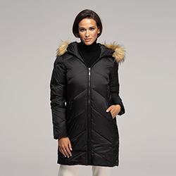 Női pehely dzseki kapucnival, fekete, 91-9D-401-1-S, Fénykép 1