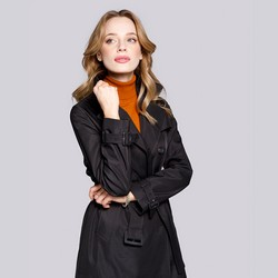 Női kétsoros trendi kabát, fekete, 92-9N-401-1-XL, Fénykép 1