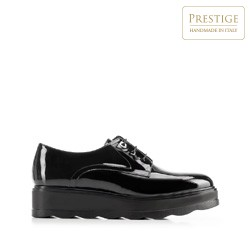 Női lakkbőr platform félcipő, fekete, 92-D-658-1-38, Fénykép 1
