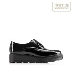 Női lakkbőr platform félcipő, fekete, 92-D-658-1-40, Fénykép 1