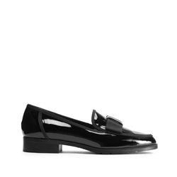 Női lakkozott cipő masnival, fekete, 93-D-104-1-36, Fénykép 1