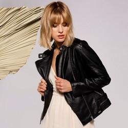 Női motoros dzseki ecobőrből aszimetrikus cipzárral, fekete, 92-9P-103-1-XL, Fénykép 1