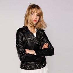 Női motoros dzseki ezüst karikákkal, fekete, 92-9P-104-1-3XL, Fénykép 1