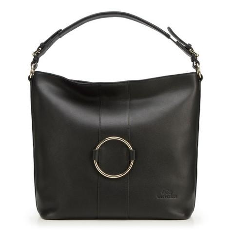 Női shopper táska bőrből karikával, fekete, 92-4E-627-1, Fénykép 1