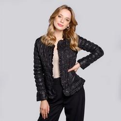 Női steppelt és gyűrött kabát, fekete, 92-9N-402-1-XL, Fénykép 1