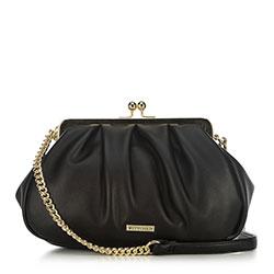 Női táska gyűrött kampós csattal, fekete, 91-4Y-409-1, Fénykép 1