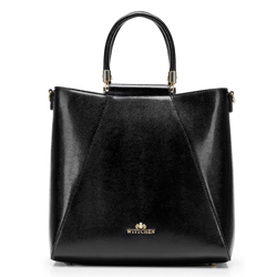 Női táska lizard bőrből, fekete, 92-4E-615-1, Fénykép 1