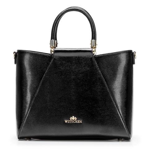 Nőt táska gyíkbőrből arany díszítéssel, fekete, 92-4E-614-0, Fénykép 1