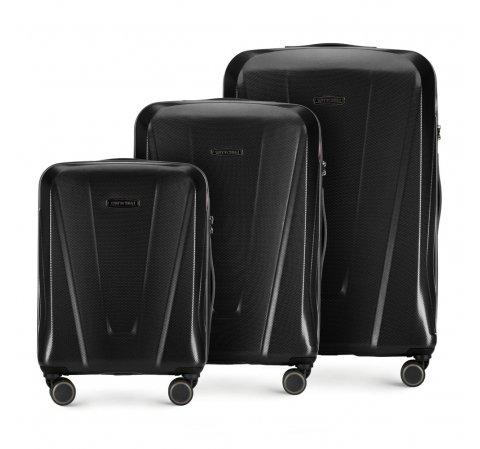 3 db-os bőröndszett polikarbonátból, fekete, 56-3P-12S-85, Fénykép 1