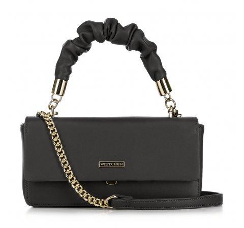 Női táska crossbody lánccal fodros fogantyúval, fekete, 91-4Y-406-5, Fénykép 1