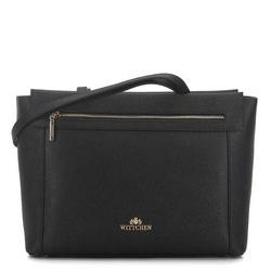 Utazókoffer táska szaffiano bőrből, fekete, 91-4-703-1, Fénykép 1