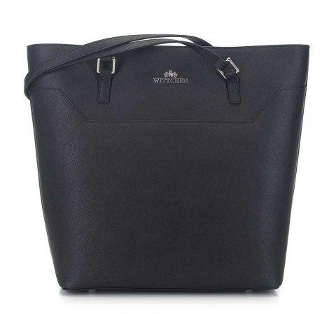 Shopper táska szaffiano bőrből, fekete, 91-4-701-1, Fénykép 1