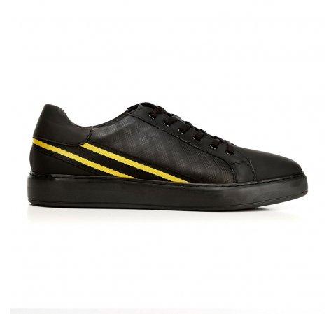 Férfi sneakers bőrből kontraszt csíkokkal, fekete sárga, 92-M-511-1-43, Fénykép 1
