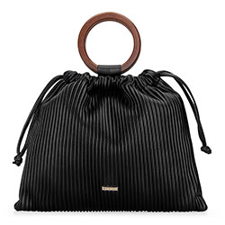 Shopper táska karikával, fekete, 92-4Y-552-1, Fénykép 1