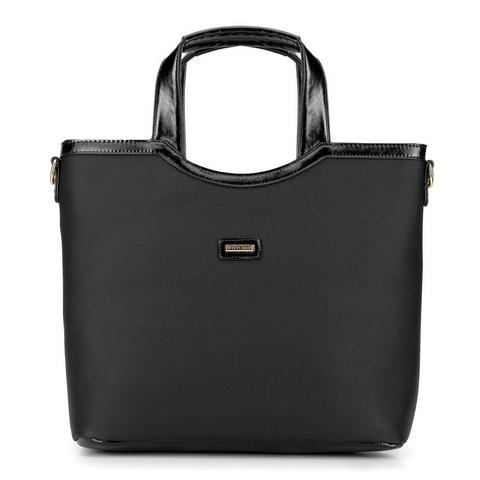 Shopper táska műbőr díszítéssel, fekete, 92-4Y-631-1, Fénykép 1