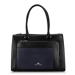 Bőr bőrönd színes tömbökkel, fekete-sötétkék, 92-4E-622-1, Fénykép 1