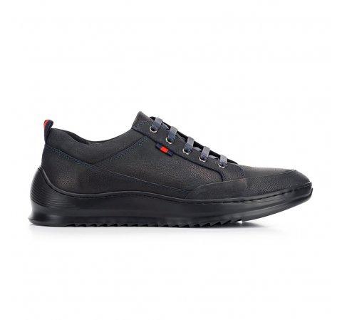 Férfi sneakers nubuk bőrből vastag talppal, fekete-sötétkék, 92-M-913-7-45, Fénykép 1
