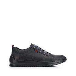 Férfi sneakers nubuk bőrből vastag talppal, fekete-sötétkék, 92-M-913-7-42, Fénykép 1