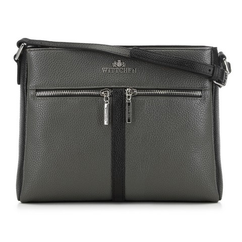 bőr borítéktáska típusú női táska, fekete-szürke, 91-4E-604-8, Fénykép 1