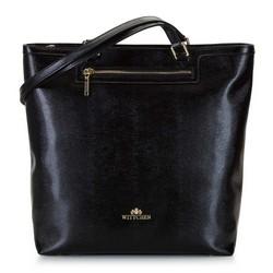 Shoppertáska texturált bőrből, fekete, 92-4E-600-01, Fénykép 1