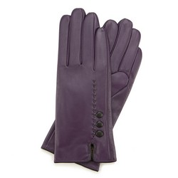 Женские кожаные перчатки с ремешком, фиолетово- черный, 39-6-913-F-X, Фотография 1