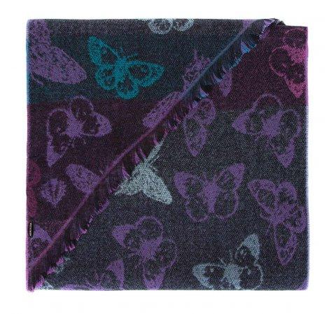 Женский шарф с бабочками, фиолетово- черный, 91-7D-X29-X1, Фотография 1