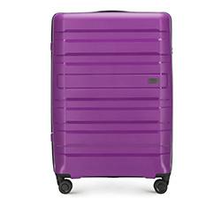 Большой чемодан из полипропилена с горизонтальными линиями, фиолетовый, 56-3T-753-24, Фотография 1