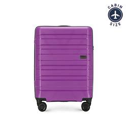 Чемодан ручная кладь из полипропилена с горизонтальными линиями, фиолетовый, 56-3T-751-24, Фотография 1
