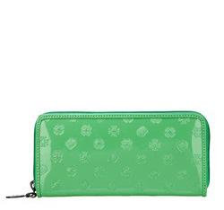 Женский лакированный кожаный кошелек с тиснением, фисташковый, 34-1-393-MM, Фотография 1