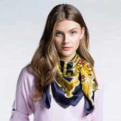Damen Schal, gelb - dunkelblau, 86-7D-S22-X07, Bild 1
