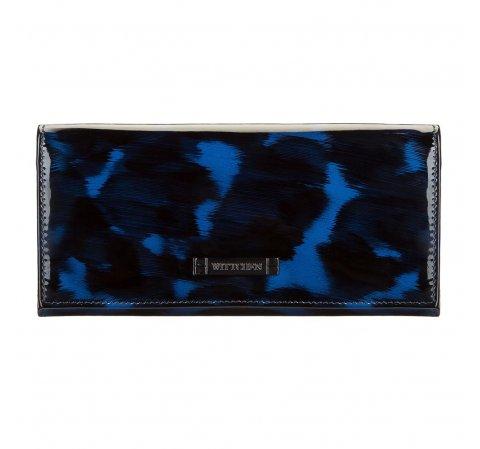 Женский кожаный кошелек черепаховой расцветки, голубо- черный, 26-1-418-2, Фотография 1