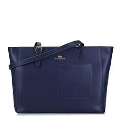 Большая кожаная сумка-шоппер, голубой, 93-4E-615-N, Фотография 1