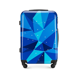 Средний чемодан из ABS с принтом, голубой, 56-3A-642-90, Фотография 1