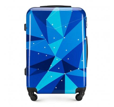 Средний чемодан из ABS с принтом, голубой, 56-3A-642-50, Фотография 1