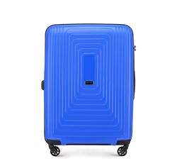 Средний чемодан из полипропилена с геометрическим узором, голубой, 56-3T-782-90, Фотография 1