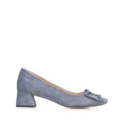 Туфли-лодочки замшевые на каблуке с бантом, голубой, 92-D-952-7-36, Фотография 1