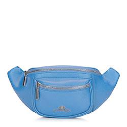 Женская кожаная  сумка на пояс с карманом, голубой, 92-4E-634-7, Фотография 1