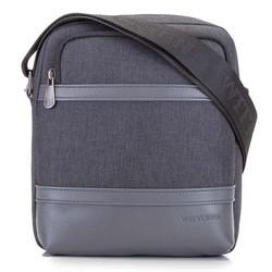 Мужская сумка через плечо из экокожи и ткани, графит, 92-4P-501-1, Фотография 1