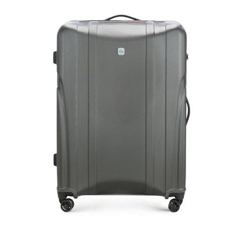 Nagy bőrönd polikarbonát vágással, fekete-szürke, 56-3P-915-10, Fénykép 1