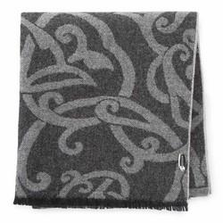 Женский шерстяной шарф с орнаментом, графит - серый, 91-7D-W02-1, Фотография 1