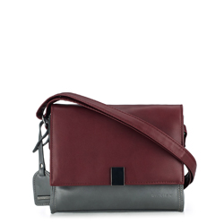 Flap-Tasche, grau - dunkelrot, 87-4Y-715-8, Bild 1