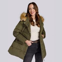 Daunenjacke für Damen mit Kapuze und Ausschnitt, grün, 93-9D-402-Z-S, Bild 1