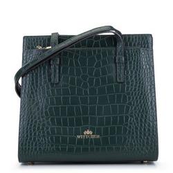 Shopper-Tasche aus Kroko-Leder, versteift, grün, 93-4E-630-Z, Bild 1