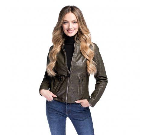 Женская куртка из искусственной кожи приталенная, хаки, 92-9P-900-8-S, Фотография 1
