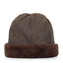 Женская зимняя шапка из кожи и меха, хаки, 87-H-K01-X, Фотография 1