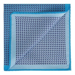 Gemustertes Einstecktuch aus Seide, hellblau - dunkelblau, 91-7P-001-X5, Bild 1