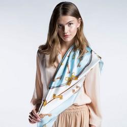 Damen Schal, hellblau-weiß, 86-7D-S22-X01, Bild 1