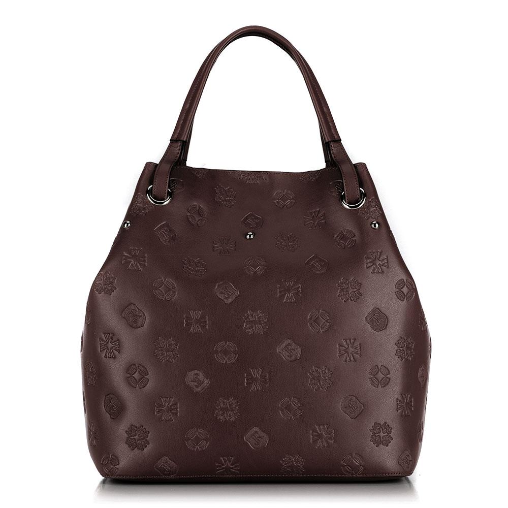 Dámská kožená kabelka, hnědá, 91-4E-619-4, Obrázek 1